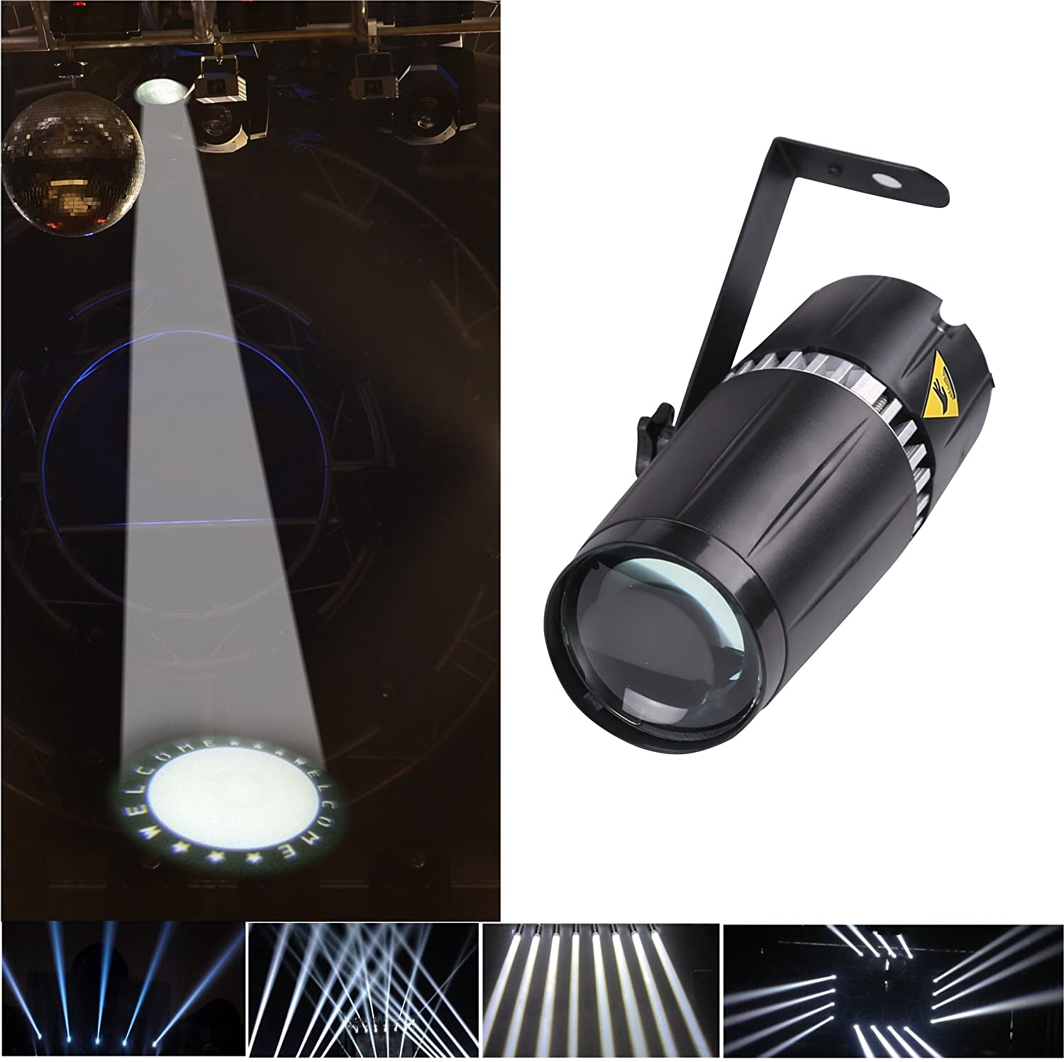 LED pinspot stage light 6W white with gobo and beam stage light Casisy LED pin spot 6W