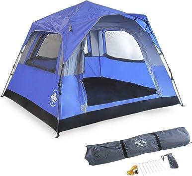 Lumaland Outdoor Pop Up Confort Tienda de campaña para 3 Personas Camping Festival 210 x 210 x 140 cm con Bolsa de Transporte - Azul: Amazon.es: Deportes y aire libre