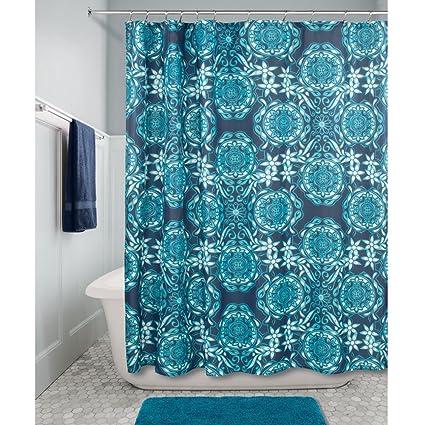 InterDesign Scroll Medallion Fabric Shower Curtain