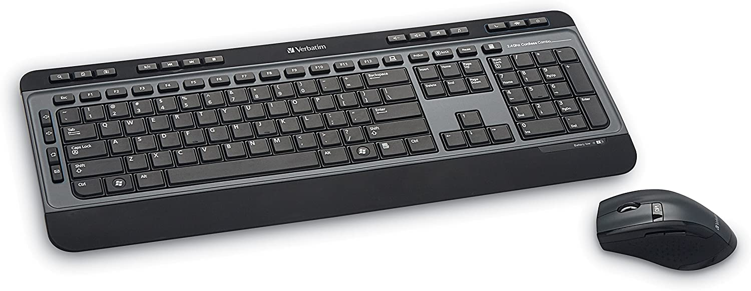 Verbatim Wireless Multimedia Keyboard and 6-Button Mouse Combo - 2.4GHz with Nano Receiver - Mac & PC Compatible - Black - 99788