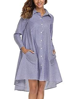 aaccd38195483 Zeagoo Women s Casual Irregular Hem Shirt Dress Loose Top Tunic with Pockets