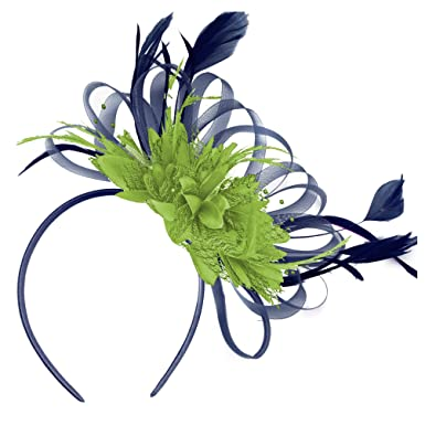 Image Unavailable. Image not available for. Colour  Navy and Green  Fascinator Lime Hair Headband Wedding ... 57dd31bd5bd