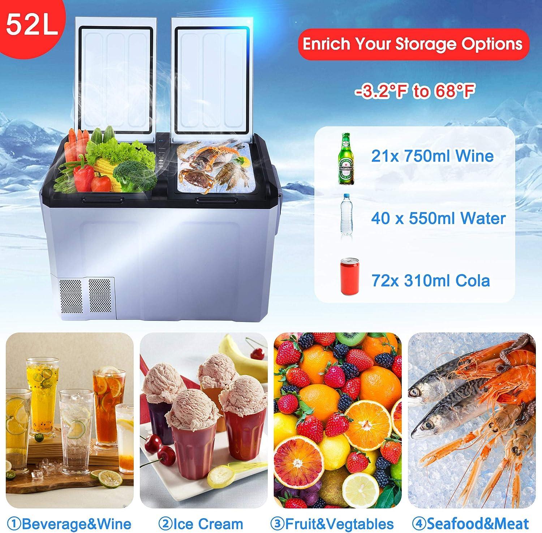 Portable Electric Single Door Vehicle Refrigerator Fridge 13/°F~68/°F Car Freezer 29 Quart DC12//24V AC110V Compressor Travel Cooler