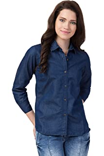 FUNDAY FASHION Women Solid Casual Denim Shirt