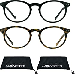 f0eb7b5168d4 2 Pairs Round Vintage Retro Reading Glasses with Stud Accents Smaller Fit + 100 to +