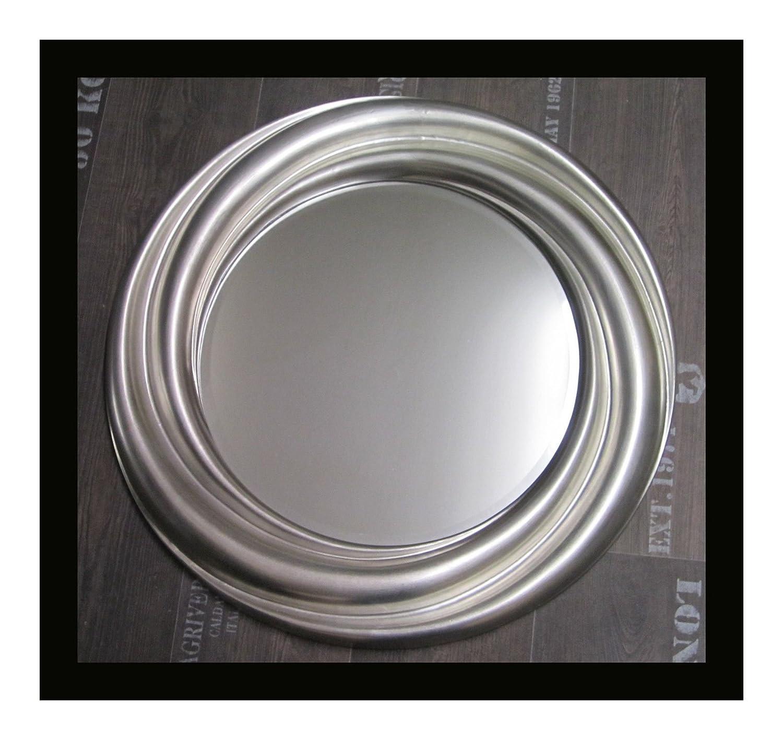 Lnxp Rund Runder Wandspiegel Silber 68 cm Durchmesser Rahmen mit Facetteschliff Rund Woe
