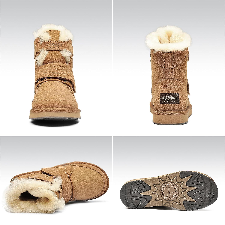 AU&MU Women's Full Fur Sheepskin Suede Winter Snow Boots B073F1Z2HT 8 B(M) US|Chestnut 3