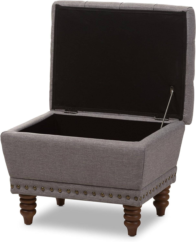 Baxton Studio Elaina Fabric Upholstered Walnut Wood Finished Button-Tufted Storage Ottoman Light Grey