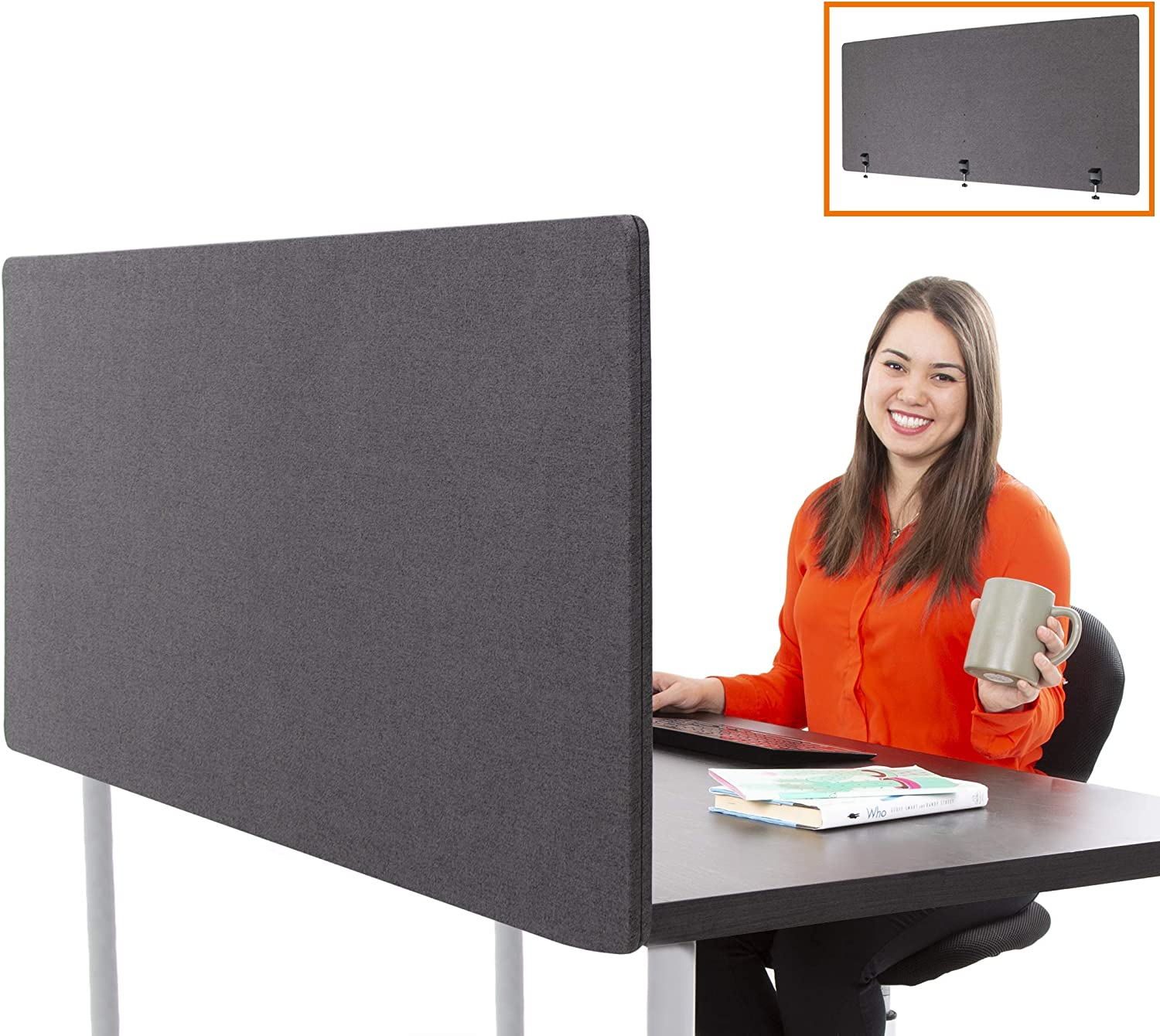 "Stand Steady ClipPanels Desk Mounted Privacy Panels | Height Adjustable Desk Divider| Easy Clamp on Privacy Screen or Modesty Panel - Reduces Up to 85% of Noise | (Gray / 60"" x 24"")"