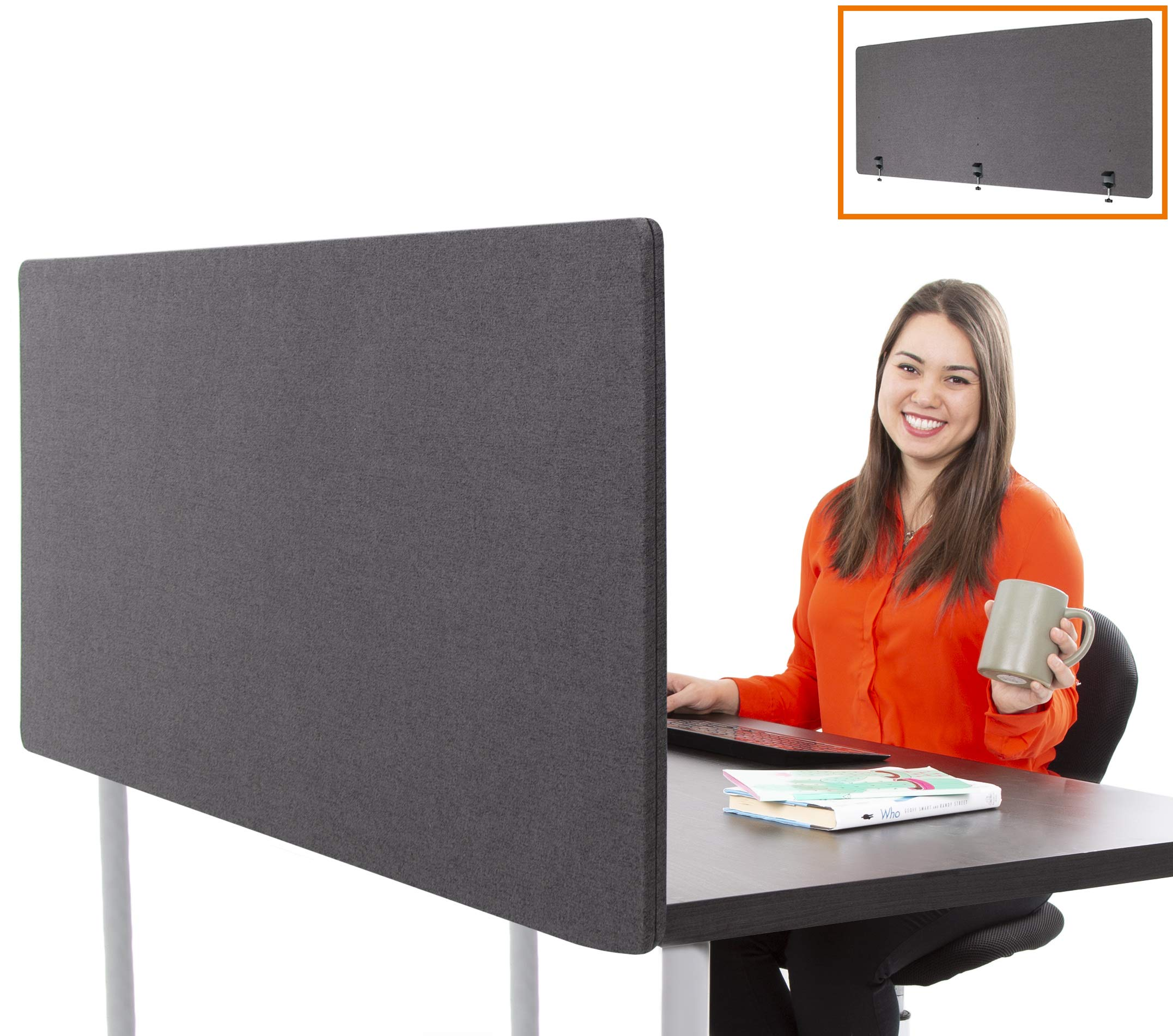 Stand Steady ClipPanels Desk Mounted Privacy Panels | Height Adjustable Desk Divider| Easy Clamp on Privacy Screen or Modesty Panel - Reduces Up to 85% of Noise | (Gray / 60'' x 24'')