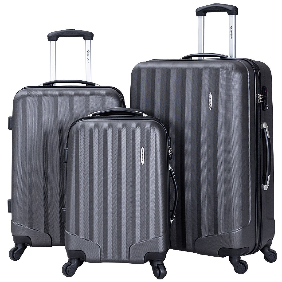 Goplus 3 Pcs Luggage Set ABS Hardshell Travel Bag Trolley Suitcase w/TSA Lock (Grey)