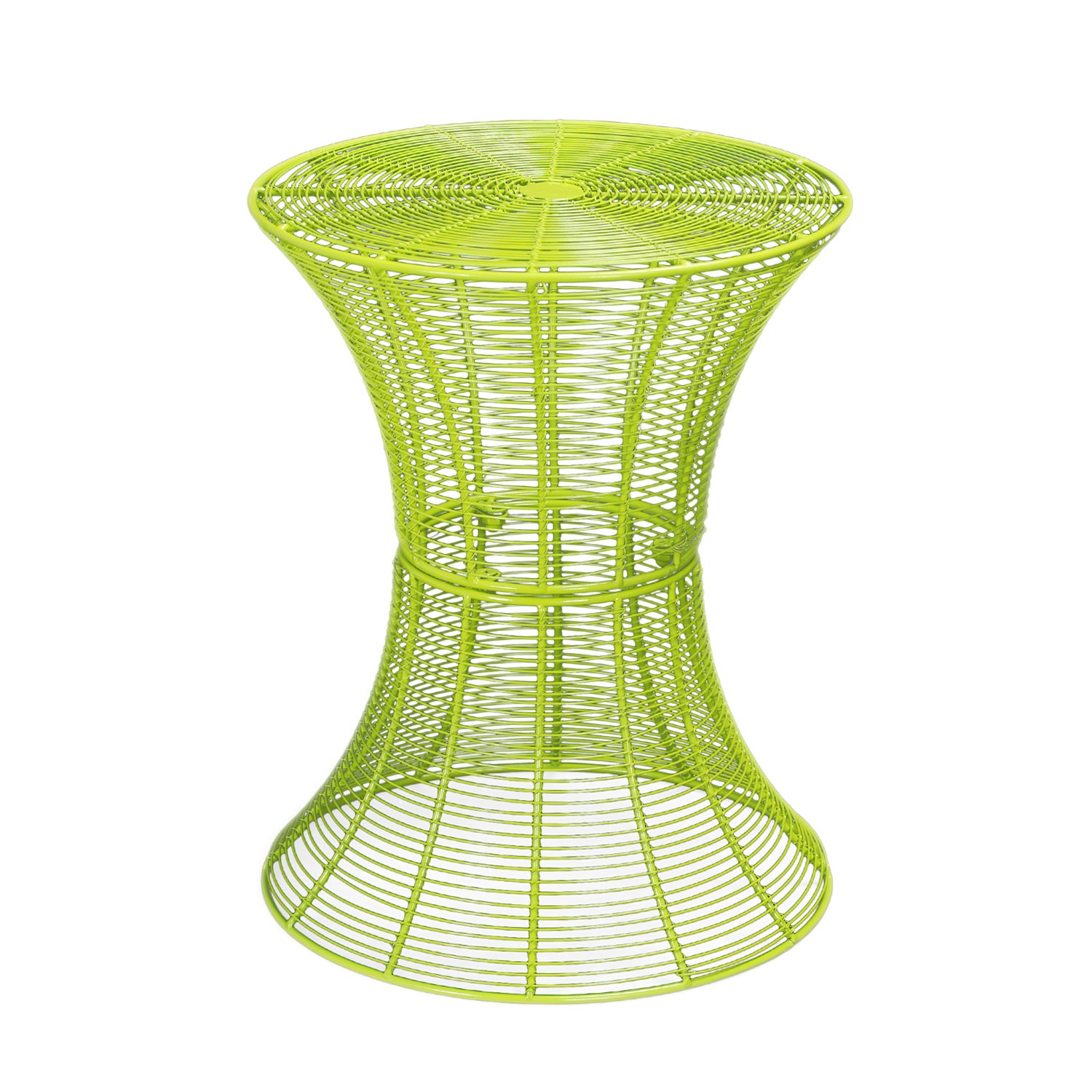 Homebeez Round End table, Side tables, Iron Wire Weave Netting Multi Color (Green)