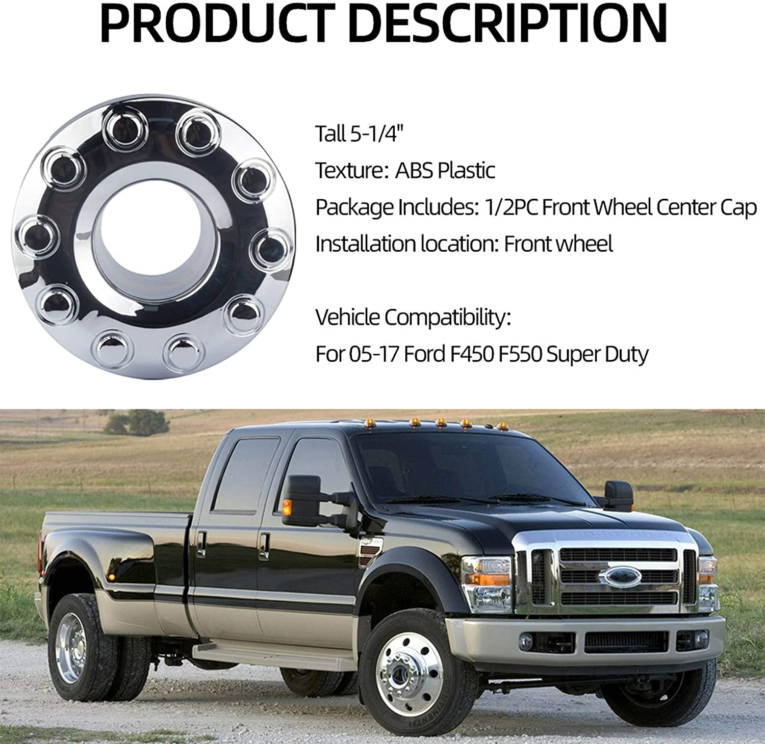 Dasbecan 2 Pcs Wheel Center Hub Caps for Ford 2005-2017 F450 F550 Super Duty 19.5 Front Wheel Chrome Replaces 5C3Z1130NA
