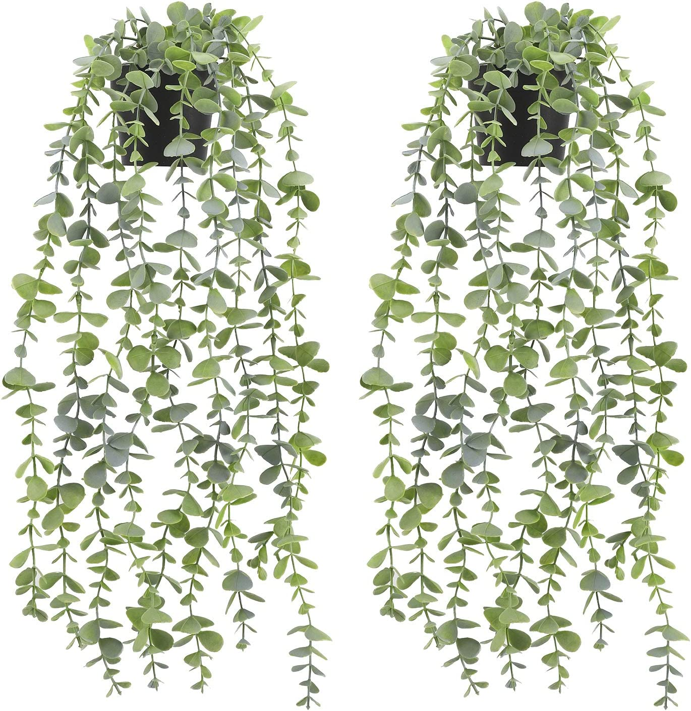 Fake Plants Artificial Hanging Plants - Fake Eucalyptus Plants Potted Faux Greenery Vines for Home Desk Decor, Set of 2