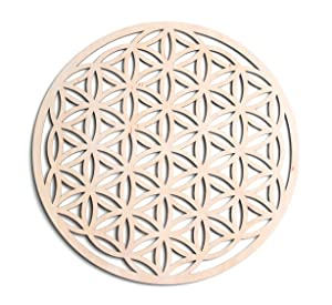 "Fourth Level Manufacturing 12"" Flower of Life, Seed of Life, Home Decor, Wooden Wall Art, Sacred Geometry Art, Sculpture, Wall Decorations, Chakra Banner, Crystal Grid, USA Made"