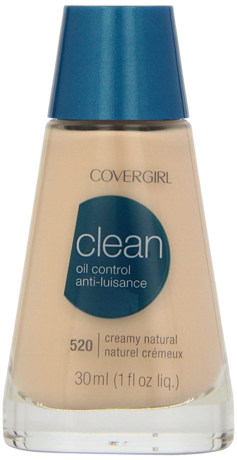 CoverGirl Clean Oil Control Liquid Makeup, Creamy Natural (N) 520, 1.0-Ounce Bottles (Pack of 2)