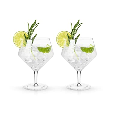 Viski 9418 Raye Cocktail Glasses Gin & Tonic Cups, Clear, Set of 2