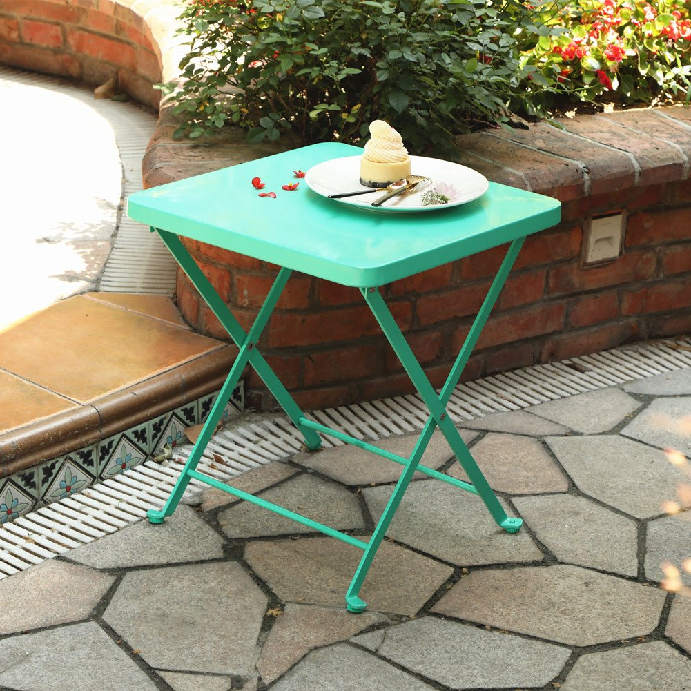 PHI VILLA Outdoor Folding Bistro Table- Patio, Porch Metal Side Table, Turquise