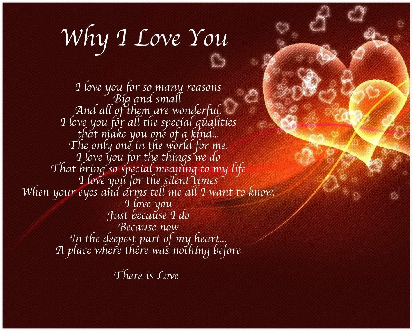 WHY I LOVE YOU Personalized Poem GIFT The PERFECT Valentine/'s Day Gift