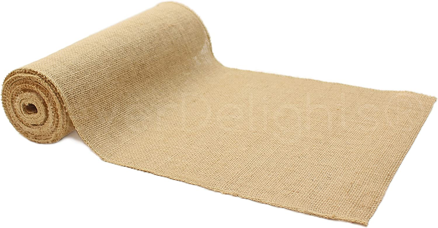 "CleverDelights 12"" Premium Burlap Roll - 10 Yards - No-Fray Finished Edges - Natural Jute Burlap Fabric"
