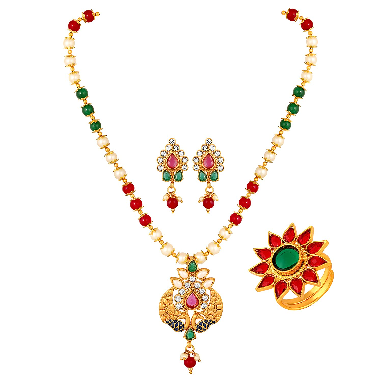 Buy Induspider Fashion Jewelry Gold Plated Ruby Fancy Pendant