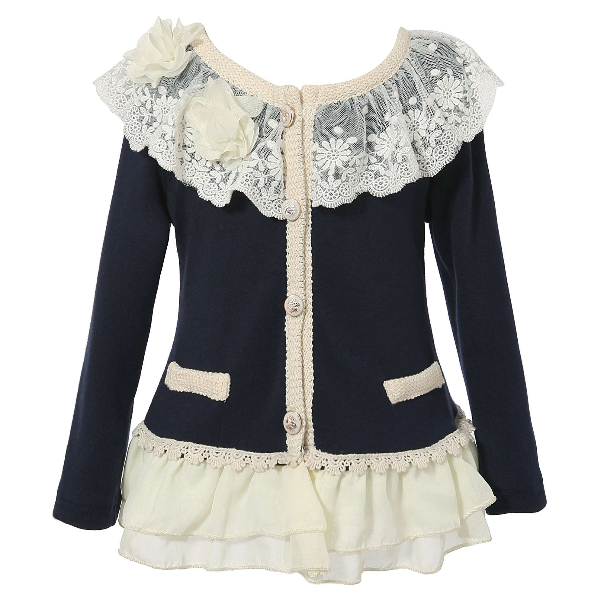 Richie House Girl's Cardigan with Layered Mesh Bottoms RH1432-A-02-5/6
