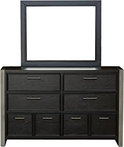 Right2Home Pulaski Youth Graphite Mirror Dresser, Black
