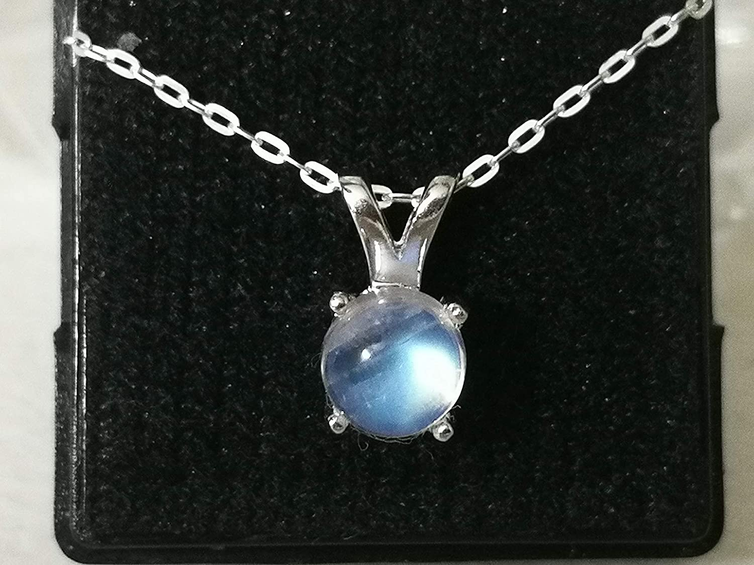 NRBMC Size 16 inches for Women Jewelry Gift Cabochon Genuine Rainbow Moonstone Pendant Necklace 925 Sterling Silver Chain Extender 1 inch