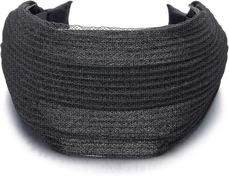 COOLSTEELANDBEYOND Elegant Classic Broadside Wide Black Glossy Stripes Lace Headband Hair Hoop Hairband