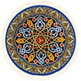 Round Rug Mouse Pad Oriental Persian Floral Mouse Mat Coaster Blue Orange Red Gold