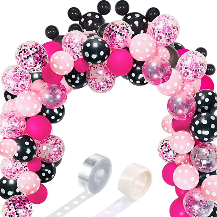 117 Mouse Balloon Garland Arch Kit Black Red White Gold/Rose Red Pink Balloon Garland Arch and Balloon Strip for Mouse Theme Party Baby Shower Birthday Wedding Decoration (Pink Rose Red Mouse Color)