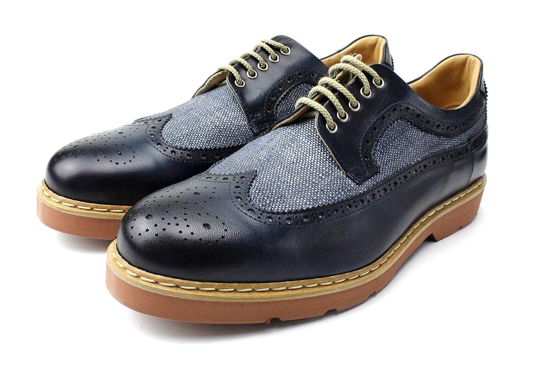 IVAN TROY Steve Blue Handmade Italian Leather Dress Shoes//Oxford Office Shoes