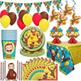 Curious George Party Supplies, Serves 16 - Plates, Napkins, Tablecloths, Cups, Balloons, Hanging Decorations, Centerpieces, F