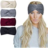 Amandir 2/4 Pcs Womens Chunky Cable Knitted Turban Headbands Winter Warm Crochet Head Wrap Ear Warmers