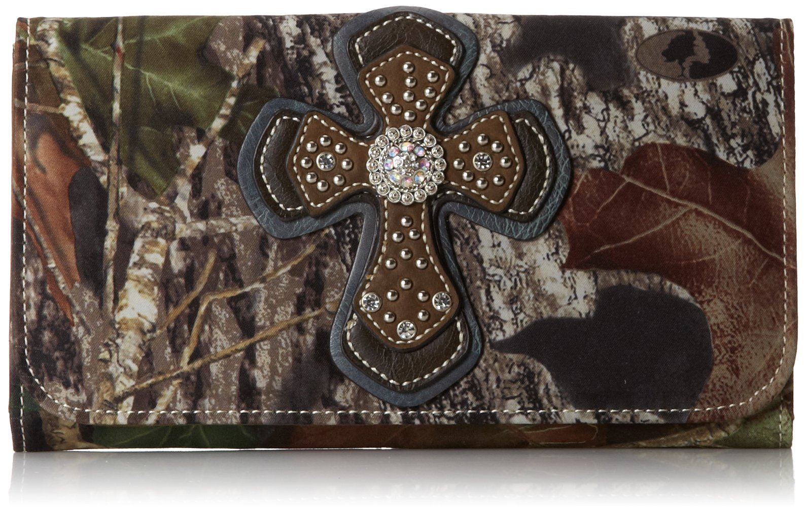 Blazin Roxx Women's Mossy Oak With Cross Applique Wallet Mossy Oak One Size