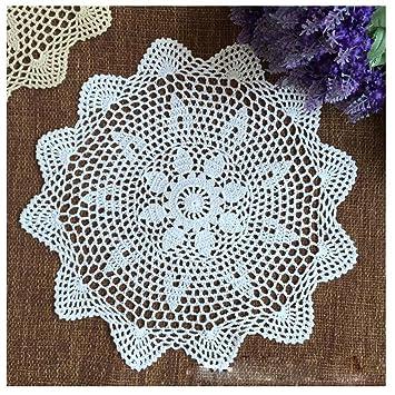 wshine Floral ganchillo mesa redonda manteles individuales para mesa blondas de encaje manteles, 4 unidades: Amazon.es: Hogar