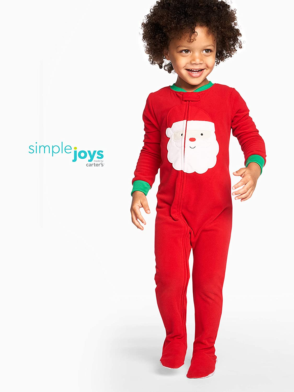Simple Joys by Carters Baby Toddler 2-Pack Holiday Loose Fit Flame Resistant Fleece Footed Pajamas 2T Ivory Red Santa