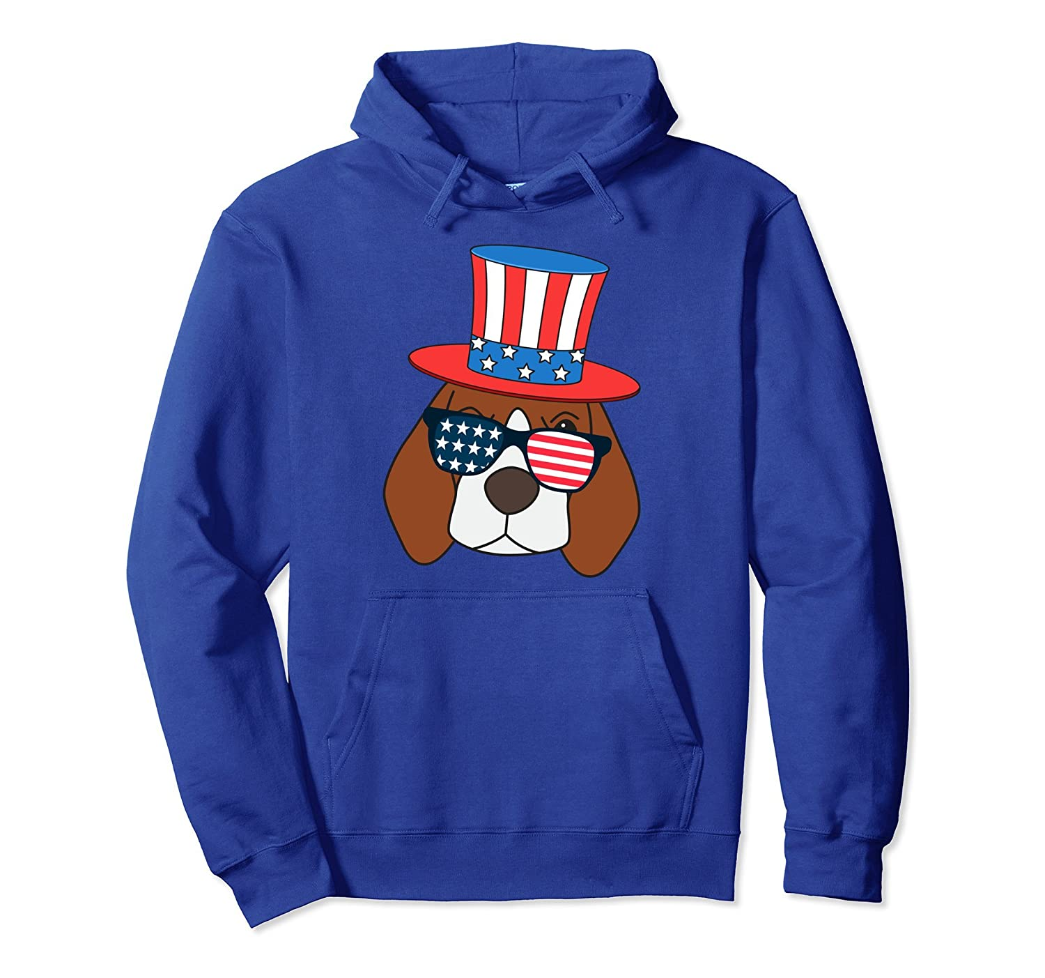 4th of July American Flag Patriot Beagle Dog Hoodie-AZP