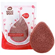MY Konjac Sponge All Natural French Red Clay Facial Sponge for Dry or Mature Skin