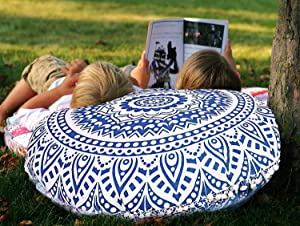 "32"" Ombre Floor Pillow Meditation Bohemian Cushion Seating Throw Hippie Decorative Boho Indian Ottoman Outdoor Home Decor Cases Round Sham Mandala Cotton Pouf White Pom Pom (Blue White) (Cover Only)"