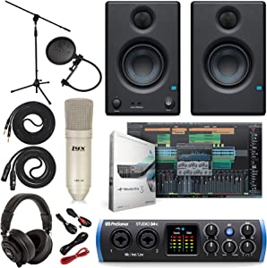 "PreSonus Studio 24c 2x2 USB Type-C Audio/MIDI Interface w/Eris 3.5 Pair Studio Monitors and 1/4"" TRS to TRS Instrument Cable and LyxPro Recording Bundle"