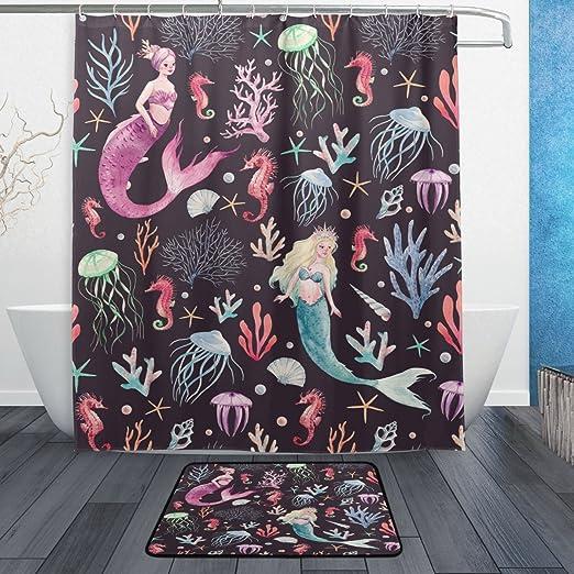 "Fairytale Mermaid Colorful Scales Starfish Shower Curtain Set Bathroom Decor 72/"""