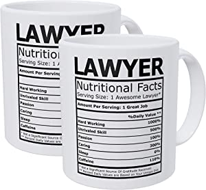 Willcallyou Pack of 2 Lawyer Attorney Nutritional Facts 11 Ounces Funny White Coffee Mug