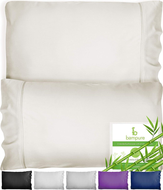 BAMPURE Bamboo Pillowcase Queen Bamboo Pillow Case Queen Size (20x30) - 100% Organic Bamboo Large Pillow Cases Cooling Pillowcase Cooling Pillow Cases Cool Pillow Cases Set of 2 Pillowcases Ivory