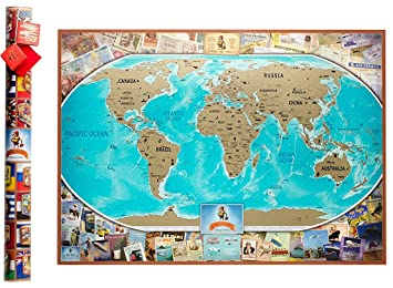 Amazon vintage scratch off world map 35 x 25 inches travel vintage scratch off world map 35 x 25 inches travel map glossy finish gift gumiabroncs Gallery