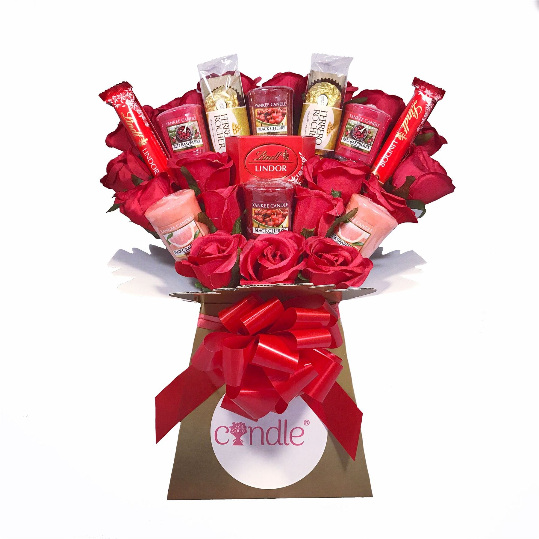 Chocolate flower bouquet amazon yankee collection scented candle silk red roses ferrero rocher chocolate bouquet gift set izmirmasajfo