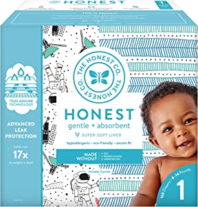 The Honest Company Super Club Box Diapers with TrueAbsorb Technology, Space Travel & Teal Tribal, Size 1, 160 Count