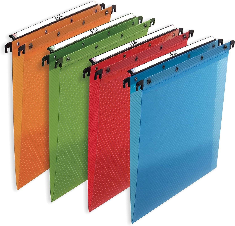 Elba Design - Pack 10 carpetas colgantes para cajón, multicolor