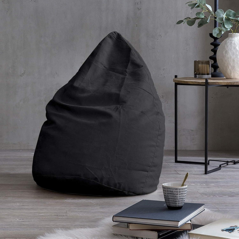 Lumaland Beanbag PUF otomano sillón Niño Puff Lujo XL Comfortline 120 lt Costuras reforzadas Negro