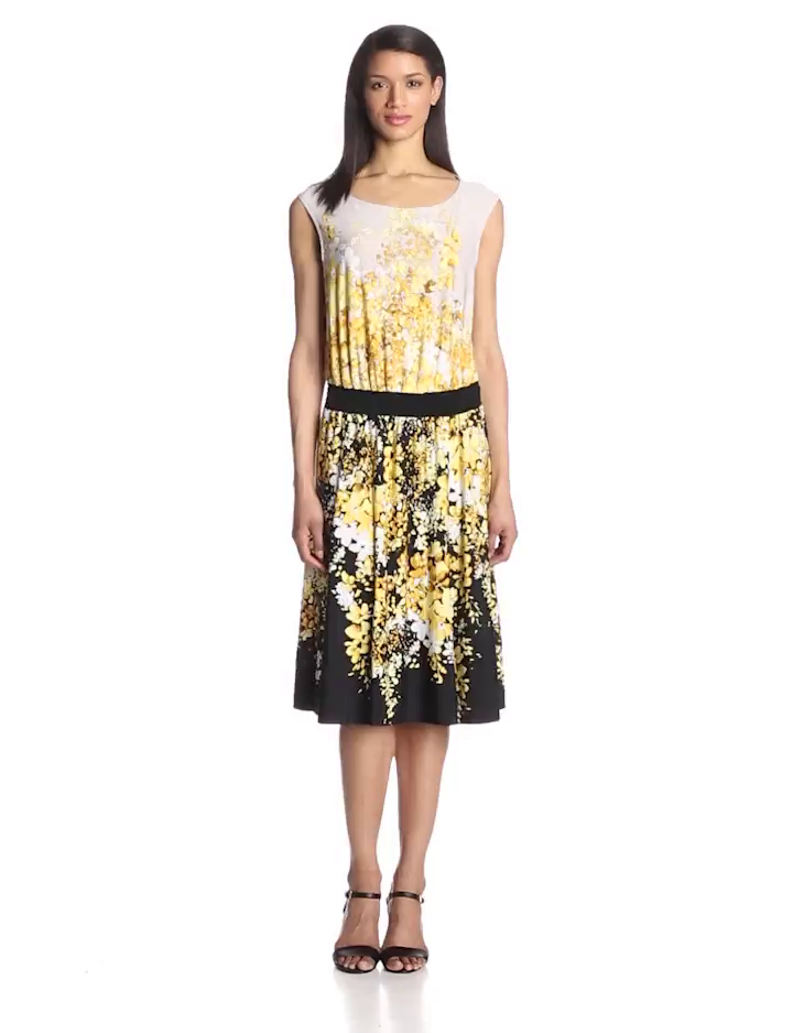 Danny & Nicole Women's Sleeveless Flower Printed Dress, Yellow/Black, 14